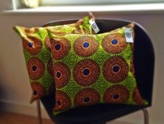 BespokeBinny - Etsy listing at https://www.etsy.com/listing/159035581/lime-green-20-african-wax-print-pillow