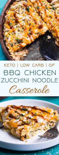 Keto Bbq Chicken Zucchini Noodle Casserole - This 6 Ingredient Casserole Is A Ultra Delicious Weeknight Dinner That Is Under 300 Calories, Protein Packed And Will Please Even Picky Eaters Gluten Free and Low Carb Too Zoodle Casserole, Keto Casserole, Casserole Recipes, Low Calorie Casserole, Low Carb Breakfast Casserole, Casserole Ideas, Healthy Recipes, Diet Recipes, Cooking Recipes