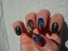 Stamp plate ejiubas-01, black polish NDED, stamppolish dashica, color polishes different rimmel 60sec shine, top coat inm northern lights holo, multi studs aliexpress