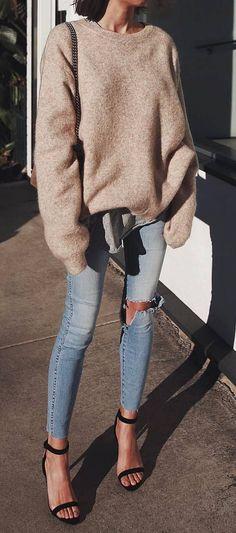 nude sweater + bag + rips + heels