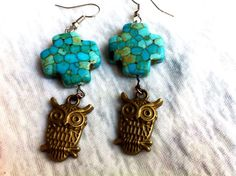 Steampunk Bronze and Turquoise Owl Cross Earrings by Hankat, $12.00