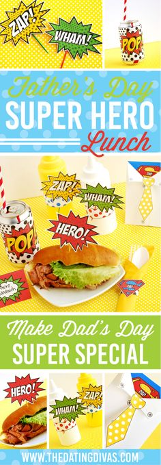 These Father's Day superhero party printables are the cutest things! The superhero Father's Day card is my favorite part! fathersday FREE Father's Day Superhero Party Printables - from The Dating Divas Fathers Day Lunch, Fathers Day Cake, Fathers Day Shirts, Fathers Day Crafts, Gifts For Father, Husband Gifts, Superhero Party Supplies, Superhero Ideas, Father's Day Celebration