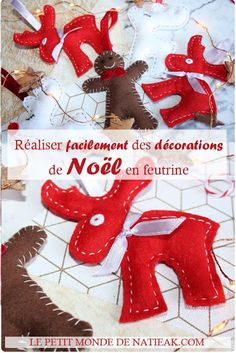 Making felted Christmas decorations: a breeze! Felt Christmas Decorations, Christmas Ornaments, Holiday Decor, Diy Cork, Merry, Xmas, How To Make, Diy Décoration, Blogging