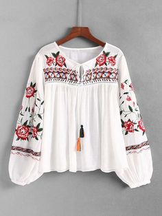 Product name: Tassel Tie Embroidered Blouse at SHEIN, Category: BlousesYou are in the right place about Women Blouse 2020 Here we offer you the most beautiful pictures about the Women Blouse work you are looking for. When you examine the Product na Frock Fashion, Boho Fashion, Girl Fashion, Fashion Dresses, Kurta Designs, Blouse Designs, Cute Spring Outfits, Trendy Outfits, Women's Overall Dress