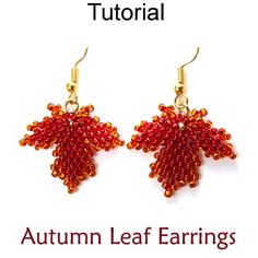 Fall Autumn Maple Leaf Beaded Earrings Diagonal Peyote Beading Tutorial Pattern Instructions