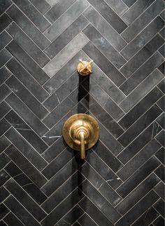 Grey Chevron ~ Soapstone Tiles - Unlacquered Brass Shower Valves Tile for Casitas shower Soapstone Tile, Br House, Metro Tiles, Grey Chevron, Chevron Tile, Chevron Bathroom, Geometric Tiles, Shower Valve, Herringbone Pattern