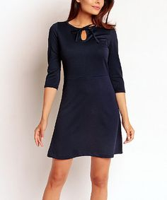 Loving this Navy Tie-Front A-Line Dress on #zulily! #zulilyfinds