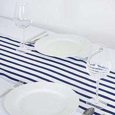 BalsaCircle Satin Stripes Table Runner - Navy Blue BalsaC...
