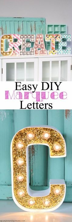 The best DIY projects & DIY ideas and tutorials: sewing, paper craft, DIY. Diy Crafts Ideas DIY Marquee Letters by Crystal A Pumpkin & A Princess -Read Diy Simple, Easy Diy, Cute Crafts, Diy And Crafts, Diy Marquee Letters, Marquee Lights, Diy Y Manualidades, Diy Casa, Ideias Diy