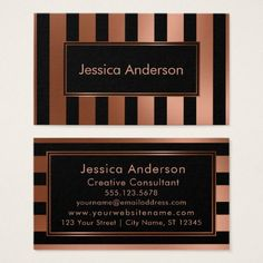 Copper Foil and Black Multi-Directional Stripes Business Card - foil leaf gift idea special template