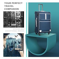 Amazon.com | Coolife Luggage 3 Piece Set Suitcase with TSA lock pinner softshell 20in24in28in (Black.) | Luggage Sets Best Suitcases, Best Travel Luggage, Luggage Sets, Softshell, Business Travel, 3 Piece, Navy, Amazon, Black