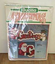 Bucilla Christmas Plastic Canvas Greetings Santa Snowman Wall Hanging 61105 NEW