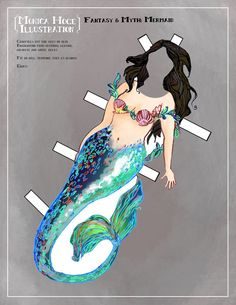 Mermaid paper doll.