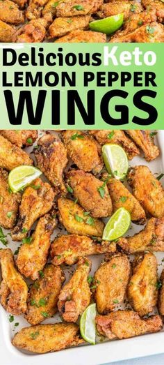 Delicious crispy keto lemon pepper wings recipe. Perfect keto appetizer or keto Thanksgiving, keto Christmas appetizer. Serve this up with your favorite keto dipping sauce #ketorecipe #ketogenic #ketodiet #keto #lowcarb #chickenwings Banting Recipes, Low Carb Recipes, Lemon Pepper Wings, Fried Chicken Wings, Low Carbohydrate Diet, Wing Recipes, Healthy Eating, Clean Eating, Food Processor Recipes