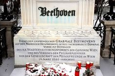 Grave Marker- Ludwig van Beethoven His funeral procession on 29 March 1827 was attended by an estimated 20,000 Viennese citizens. Franz Schubert, who died the following year and was buried next to Beethoven, was one of the torchbearers. Beethoven was buried in a dedicated grave in the Währing cemetery, north-west of Vienna, after a requiem mass at the church of the Holy Trinity (Dreifaltigkeitskirche). His remains were exhumed for study in 1862, and moved in 1888 to Vienna's Zentralfriedhof.