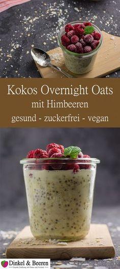 Kokos Overnight Oats mit Himbeeren zuckerfrei vegan gesund