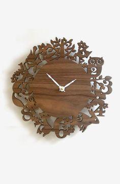 Unique wall clock, Forest Animals, Walnut veneer