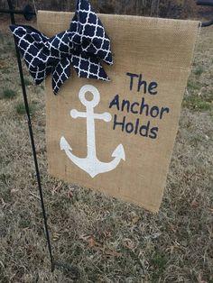 The Anchor Holds Burlap Garden Flag, Anchor Decor, Summer Garden Flag, Pool… Summer Crafts, Fall Crafts, Home Crafts, Diy Crafts, Anchor Crafts, Beach Wreaths, Flag Ideas, Burlap Flag, Outdoor Tablecloth