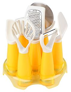 Crystallove 7pcs Stainless Steel Kitchen Gadgets Cooking Tools Utensil Set with Stand yellow ** This is an Amazon Affiliate link. Click on the image for additional details.
