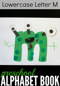 Learn the ABCs with our Free Alphabet Book for Preschoolers. Enhance fine motor skills and letter recognition while creating cool alphabet letter crafts. Letter M Activities, Preschool Letter Crafts, Alphabet Letter Crafts, Abc Crafts, Alphabet Book, Preschool Learning Activities, Preschool Ideas, Teaching Abcs, Nanny Activities