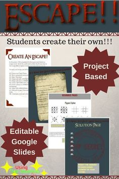 If you're looking for escape room ideas here's a GREAT idea for an escape room for english, math, science, social studies or ANY subject! This classroom escape allows students to create their own escape by making puzzles and ciphers.