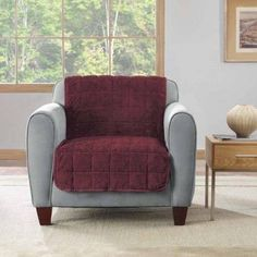 Sure Fit Faux Fur Armless Chair Throw, Red