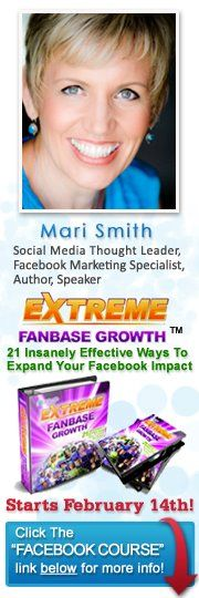 Go behind the scenes with Mari Smith's new Extreme Fanbase Growth Program or her VIP group.  You will see a friendly smile, hard worker & driven, cool genius.  #Facebook #Sidebar