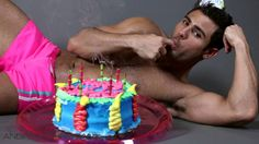 Half Naked Guy with Birthday Cake