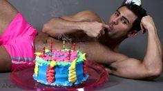 Half Naked Guy with Birthday Cake