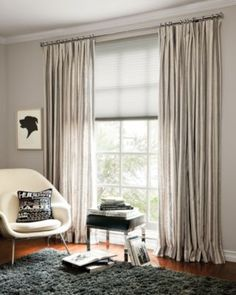 Photo Gallery - Smith+Noble Light filtering honey comb shade Casual pleat drapery- window in sitting area