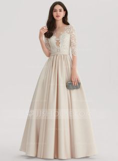 e032ebcb881 Ball-Gown Scoop Neck Floor-Length Zipper Up Covered Button Sleeves Sleeves  No Other Colors Winter Spring Summer Fall General Plus Satin US 2   UK 6    EU 32 ...