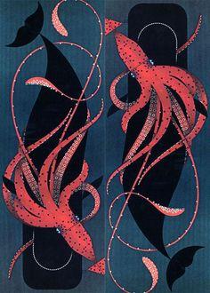squid vs whale, charley harper, 1967