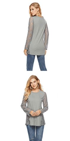 Leisure Splice Round Neck Hollow Lace Long Sleeve Women's Sweater #sweater #Lace #leisure