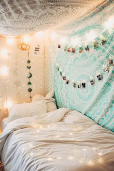 Lady Scorpio | @Ladyscorpio101 ☽☽ ladyscorpio101.com ☆ Perfect Bedroom Decor for the Hippie at heart ♡ Alexa Halladay is Boho Bungalow - Tapestry with Copper Fairy Lights! Including Moon Phase Wall Hangings! Mermaid Seafoam green/blue Ocean themed Room Mandala Tapestry | Ladyscrpio101