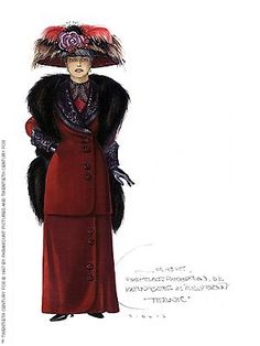 Titanic Costume Design: Shows the narrow skirt silhouette of the 1900s worn with a tunic jacket over the top. The picture hat is exemplary of the popular accessory with lavish decoration
