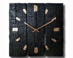 Burned wood clock Home decor Original clock Hand made by Inthetime
