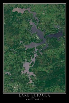 Lake Eufaula Oklahoma From Space Satellite Art Poster