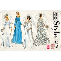 Wedding Dress Pattern with Train or Bridesmaid Dress Style 2658 Vintage Sewing Pattern Bust 34 FF Unused 60s Patterns, Fashion Patterns, Costume Patterns, Vintage Sewing Patterns, Clothing Patterns, Moda Vintage, Vintage Style, Vintage Fashion, Bridesmaid Dress Styles