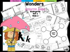 """This 25 PAGE Kindergarten interactive journal is aligned to Common Core and to the McGraw Hill Wonders series for Unit 6-Week 2. Complete Set Includes:Mini Anchor Chart/Activities for Letter """"Kk"""", Main Topic, and Genre (Fantasy)Handwriting PracticeCut and Paste Graphic Organizers  Build It!"""