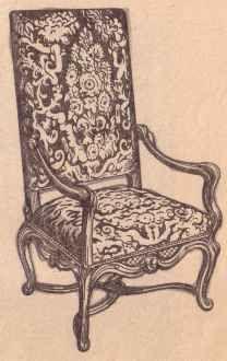 Рис. 128. Французское кресло в стиле барокко эпохи Людовика XIV