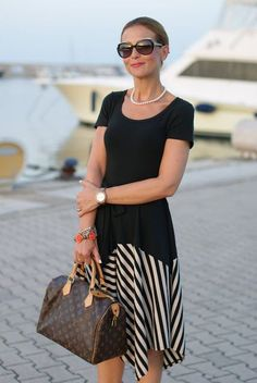 summer outfits, black and white striped dress, DKNY, Louis Vuitton Speedy 30 bag, Fashion and Cookies #bags #fashion