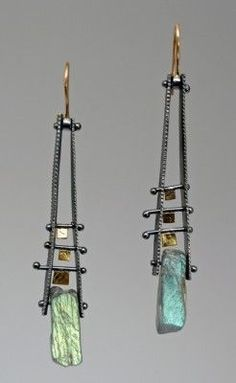 One can never have enough labradorite.  These earrings are stunning.  by Sydney Lynch  #mixed metal #metalsmith #jewelry