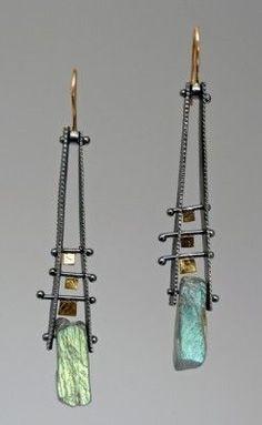 Earrings | Sydney Lynch. Labradorite, 18k gold & oxidized sterling silver on 18k gold wires. #bijouxfantaisie #bijouxcreateur #cadeaux #femme #ideescadeaux