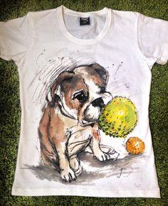Hand painted Dog Tshirt. Unisex English Buldog by palettePandora