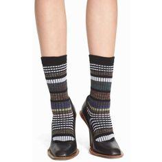 Marni Stripe Jacquard Socks (355 BRL) ❤ liked on Polyvore featuring intimates, hosiery, socks, carbon, marni, patterned socks, striped socks, patterned hosiery y graphic socks