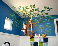 Jungle nursery. If I have a boy I am going to stick with the nursery decor I had for Jay but I'd like to make it a bit brighter and change it up some. Love this blue and green and those monkeys!