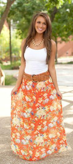 Orange Floral Belted Maxi Skirt
