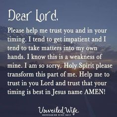 Help me trust You and Your timing   https://www.facebook.com/ChristianTodayInternational/photos/10152566373279916