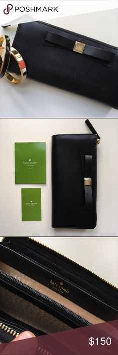 NWT Kate Spade Black Bow Wallet Adorable bow detail, classic design -- the perfect wallet! kate spade Bags Wallets