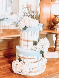 Baby Shower Cake, Blue Drip Cake, Fresh Flowers on Cake, Baby Boy, Semi Naked Cake Baby Shower Cakes Neutral, Baby Shower Cakes For Boys, Baby Boy Cakes, Baby Shower Flowers, Baby Boy Shower, Baby Shower Drip Cake, Fresh Flower Cake, Fresh Flowers, Blue Drip Cake